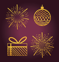 happy new year 2021 golden icons set ball gift box vector image