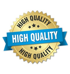 High quality 3d gold badge with blue ribbon vector