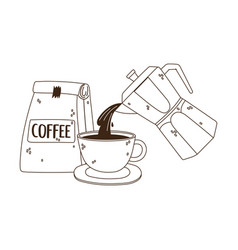 International day coffee kettle pouring on cup vector