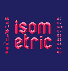 Isometric 3d font design three-dimensional vector