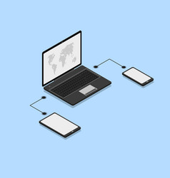 isometric different devices vector image