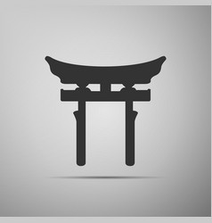 Japan Gate Torii gate icon on grey background vector