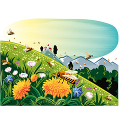 lawn mountain flower worker bees vector image