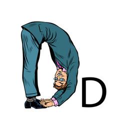 letter d dee business people silhouette alphabet vector image