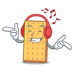 Listening music graham cookies mascot cartoon vector