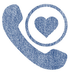 Love phone call fabric textured icon vector