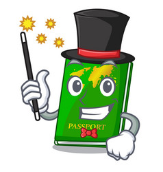 Magician green passport on the mascot table vector