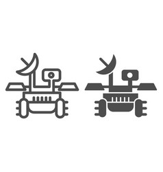 Mars rover line and glyph icon research module vector