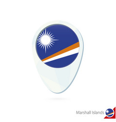 Marshall islands flag location map pin icon on vector
