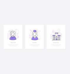 medical clinic staff - line design style banners vector image