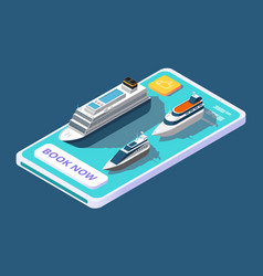 Mobile app for booking cruise with ship or yacht vector