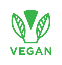 modern vegan logo with abstract leaf icon vector image