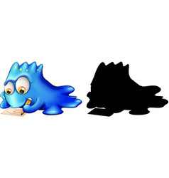Monster with its silhouette on white background vector