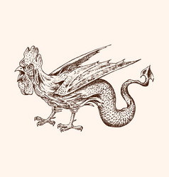 mythical basilisk ancient mythology bird vector image