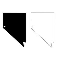 nevada nv state map usa with capital city star at vector image