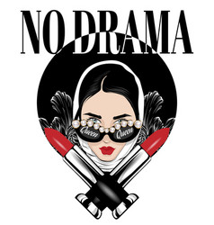No drama hand drawn girl with vector