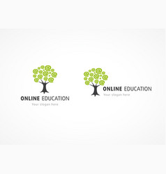 Online education logo internet tree vector
