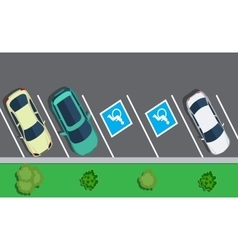 Parked cars on the parking top view vector