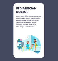 pediatrician doctor with mom and child boy flat vector image