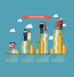 People generations with retirement money plan vector