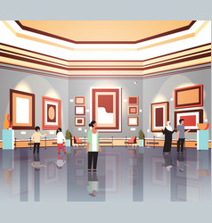 People tourists viewers in modern art gallery vector