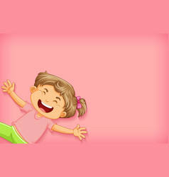 Plain background with happy girl in pink shirt vector
