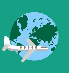 Plane travel aroun the world vector