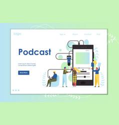 podcast website landing page design vector image