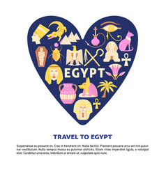 poster with egypt symbols in flat style vector image