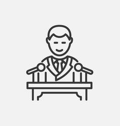 President - line design single isolated icon vector