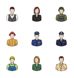 professional work icons set cartoon style vector image