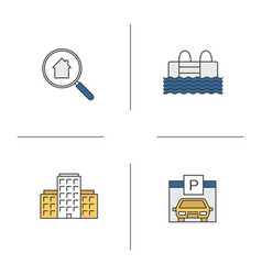Real estate color icons set vector