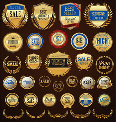 retro golden badge collection 1 vector image