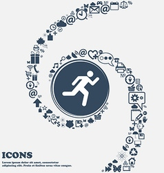 running man icon sign in the center Around the vector image