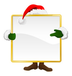 Santa behind christmas sign vector