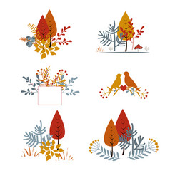 Set autumnal floral cards with abstract leaves vector