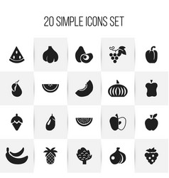 Set of 20 editable berry icons includes symbols vector
