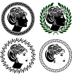 set of roman woman profiles vector image