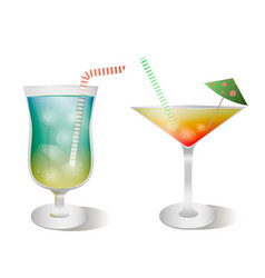 Set stemware and glasses with cocktail vector