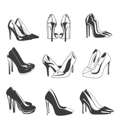 set woman shoes on heels fashion vector image