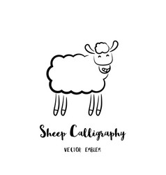 sheep calligraphy emblem vector image