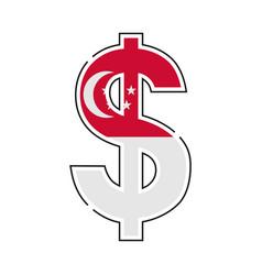 singaporean dollar symbol with a flag icon vector image