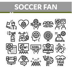 Soccer fan attributes collection icons set vector