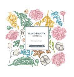 square floral design with pastel ficus eucalyptus vector image