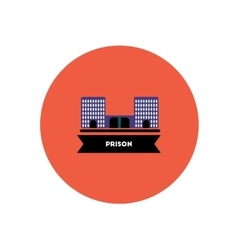 stylish icon in color circle building prison vector image vector image