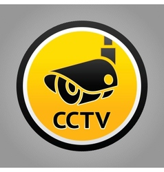 Surveillance camera warning sign vector