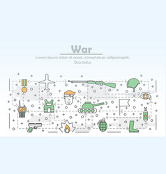 thin line art war poster banner template vector image