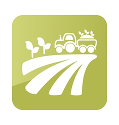 Tractor field harvest seedling icon farm vector