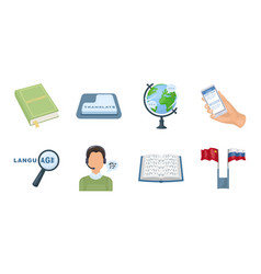 translator and linguist icons in set collection vector image