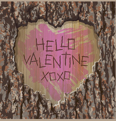 valentines day heart carved into tree vector image